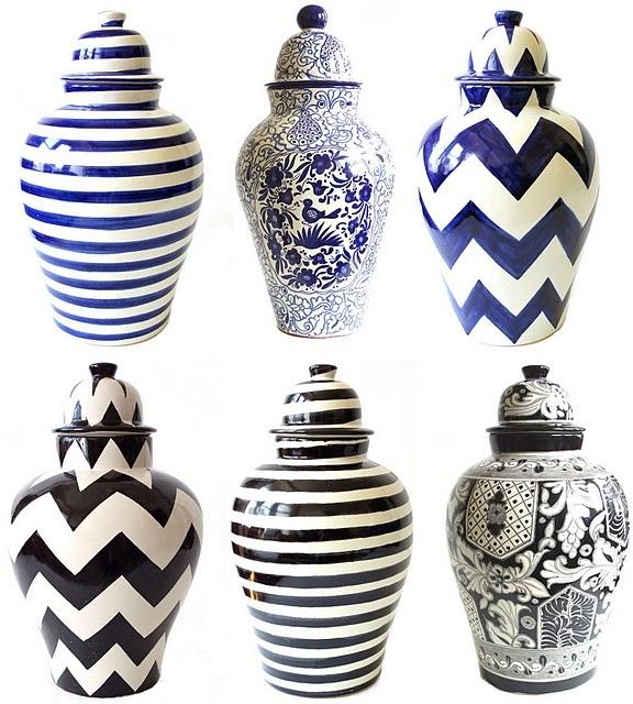 Tibores (aka ginger jars) from Emilia CeramicsGingers Jars, Around The House, Ginger Jars, Blue Chevron, Accessories, Emilia Ceramics, Blue And White, Cookies Jars, Chevron Stripes