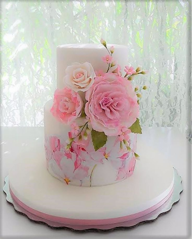 Pink Cake With Flowers For A Baby On Central