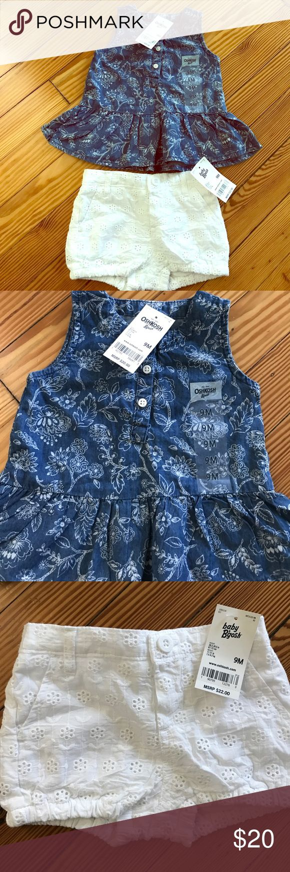 NWT OshKosh B'gosh tank and eyelet shorts New with tags!  Cotton tank and shorts. Tank has a denim/chambray look with buttons on the front and a white floral design.  The adorable white eyelet shorts have a faux button look. Elastic at the waistband and the leg holes.  Real front pockets. Both are size 9 months. Reasonable offers considered. No trades.  Willing to sell items separately. OshKosh B'gosh Matching Sets