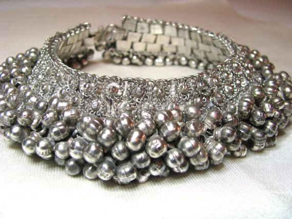 Antique Tribal Old Silver Anklet Rajasthan 226grams by jasmineium, $175.00