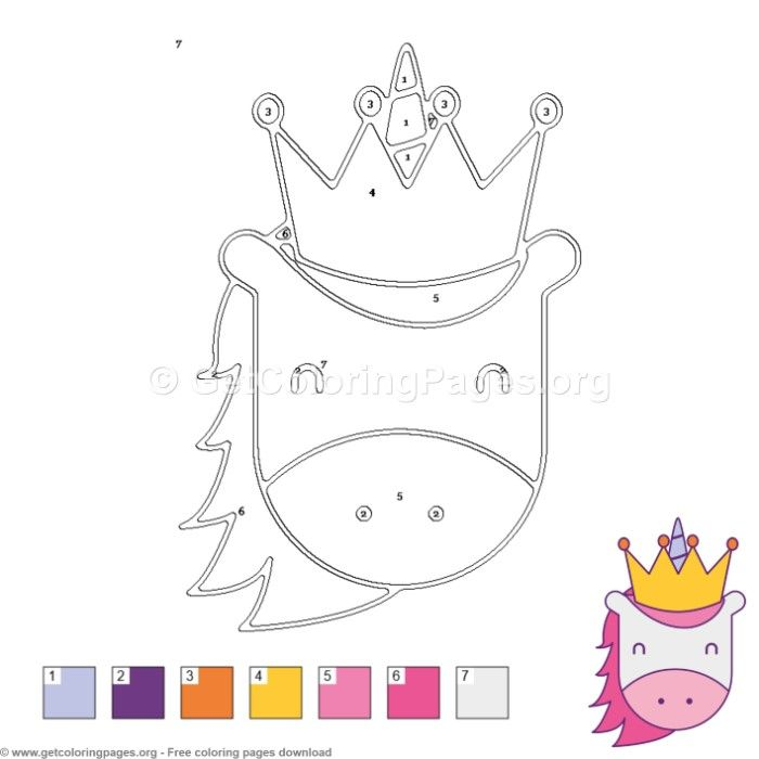 Unicorn With Crown Color By Number Free Instant Download Coloring Colo Little Pony Birthday Party Unicorn Themed Birthday Party My Little Pony Birthday Party