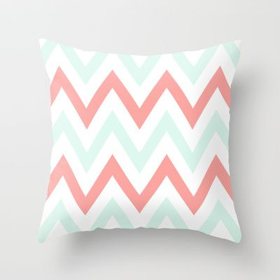Mint  Coral Chevron Throw Pillow by daniellebourland - $20.00