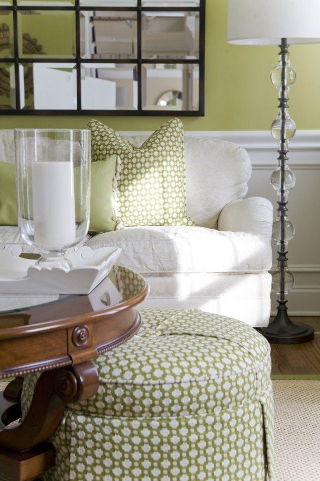 Alisha Gwen | interior designer, green and white color scheme - living room. Love this ottoman