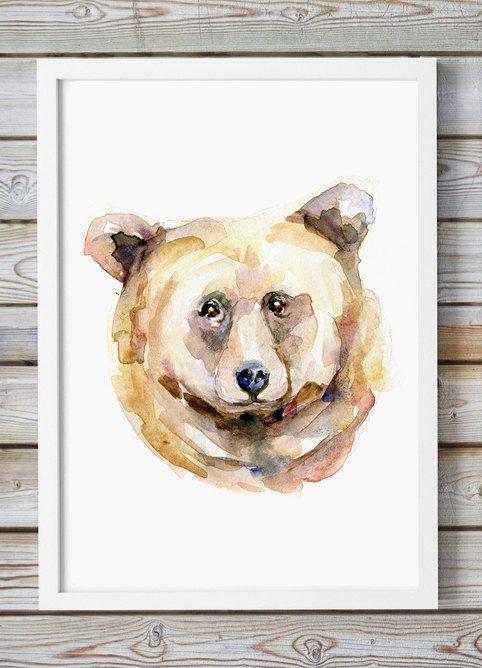 Beer portret  aquarel schilderij  giclee print  dier door Zendrawing