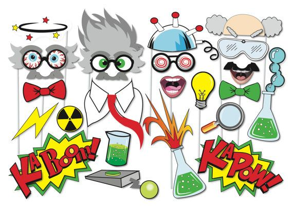 Here is the ultimate collection of Crazy Scientist photo booth props! Tons of Fun!! Great for a table centrepiece or Photo booth!  Contains 23