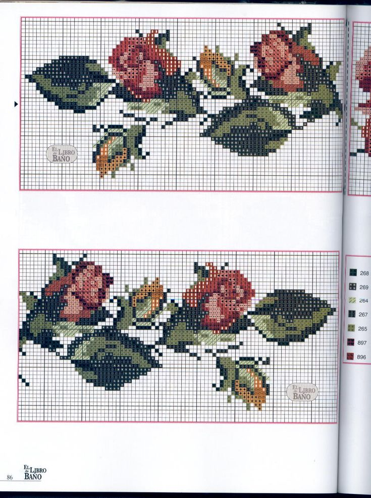 Schema punto croce bordi asciugamani rose 2 bordi punto for Schemi gratis a punto croce