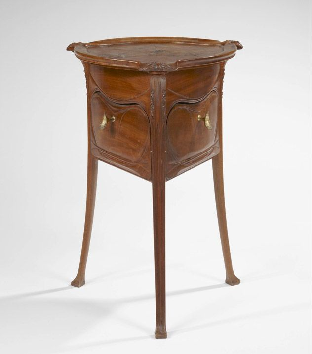 Hector Guimard (1867-1942) - Side Table. Pear Wood with Gilt Bronze Handles. Circa 1912.