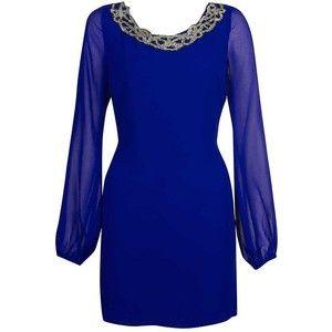 Womens - Dresses - Lipsy - Lipsy Long Sleeve Beaded Neck Chi ...