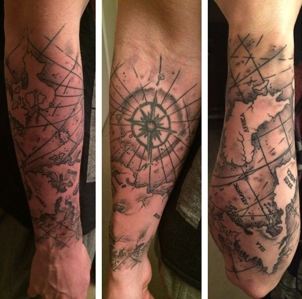Map Tattoo from Black Garden Tattoo, London Half Sleeve