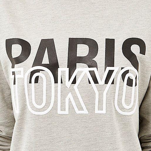 Grey Paris Tokyo oversized sweatshirt - sweatshirts - t shirts / vests / sweats - women