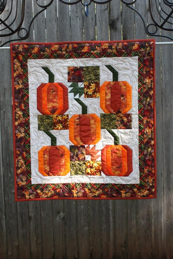 Quilted Fall Wall Hanger Quilted Pumpkins Hand Made Quilts Home Made Quilted Wall Hanging Hand Made Quilted Door Hanger Handmade Quilt Sizes Wall Hanger