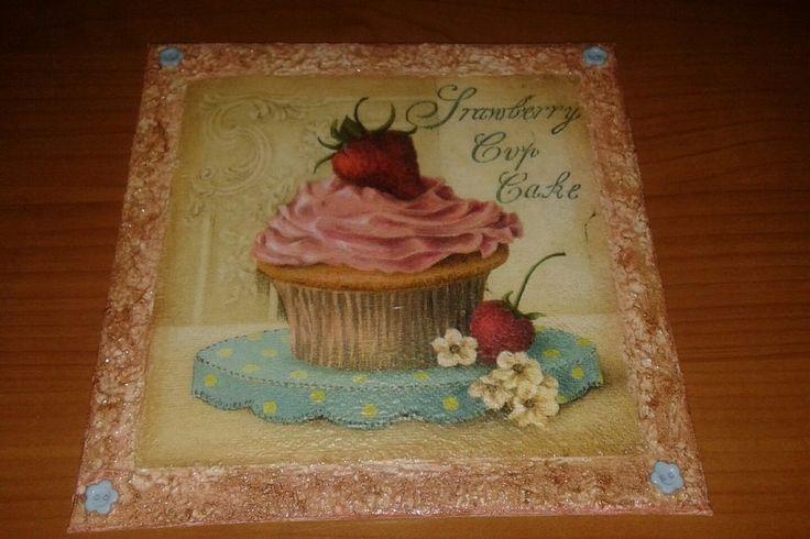 Quadretto tela decorato decoupage cupkake vintage shabby  idea regalo 20 cm