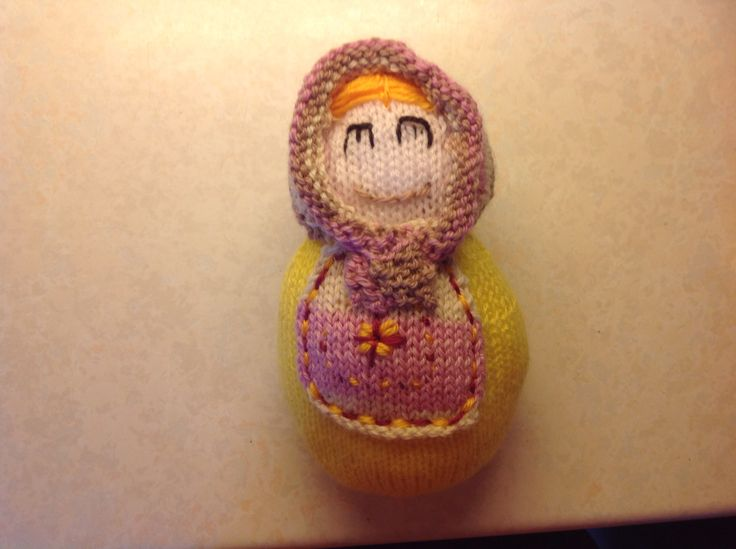 Small Russian doll knitted by Julie Farmer. From a pattern in the magazine entitled knitting.