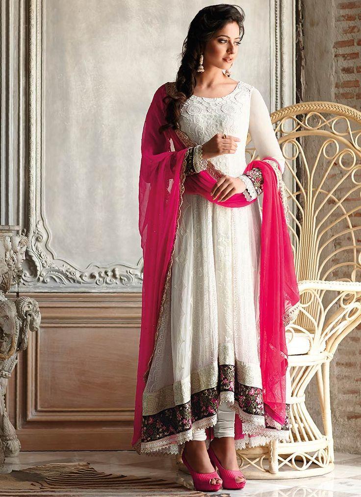 Off White Rakul Preet Anarkali Suit cbazaar