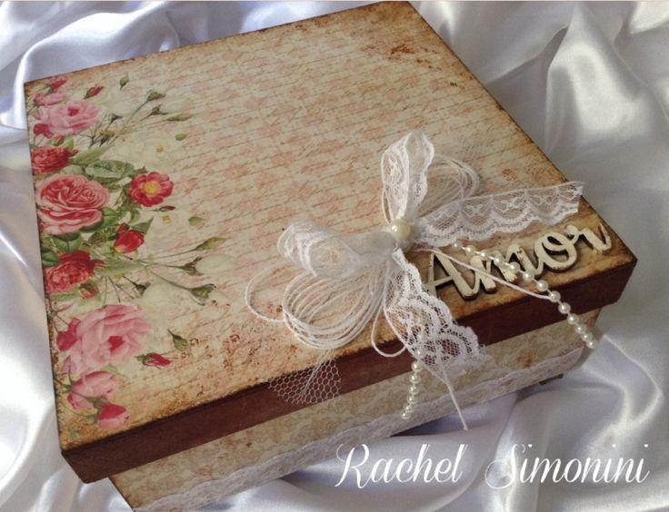 Caixa amor - arte com scrapdecor -Rachel Simonini