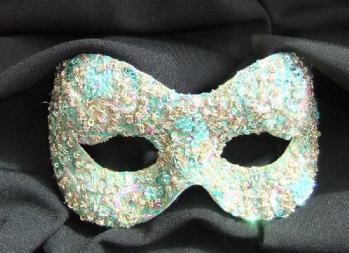 Mint Green & Gold filigree masquerade mask