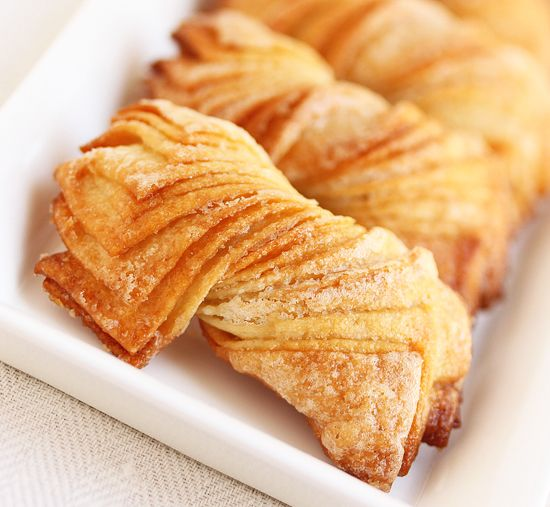 Twisted Cookies ~ With Rolled-In Sugar. (these are called cookies but they look and sound more like a pastry to me) Dip in a fruit sauce or chocolate? Yummmm