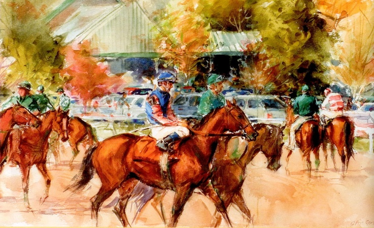 Entries and Clubhouse, Keeneland - Watercolor by Sandra Oppegard