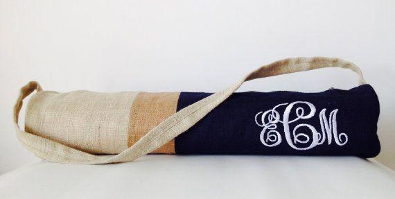 Yoga Bag  Navy Blue Burlap Color Block Yoga Mat Bag by AmoreBeaute