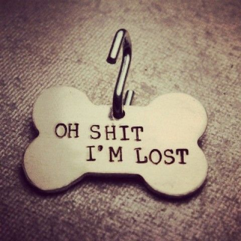 """""""oh shit, I'm lost"""" Pet ID Tag 