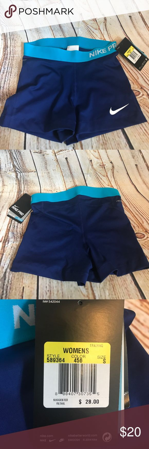 Nike compression shorts Blue and aqua Nike compression shorts. Size Small Nike Shorts