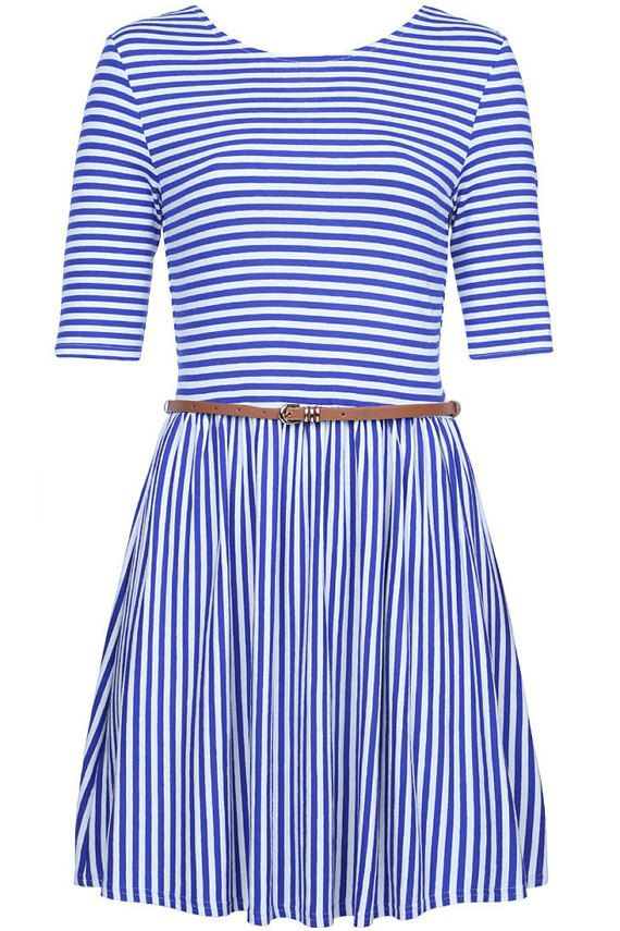 Meet Bonnie! Bonnie is our beautiful navy and white striped vintage inspired dress - she is ideal for day or night making her perfect for that all day style. Dress her up or down depending on your occasion. We just love how versatile she is!  She is designed and sewn in our own family run UK design room which provides you with quality vintage inspired clothing at an affordable cost!  Bonnie is available in sizes 8, 10, 12, 14 & 16.  Size Guide (cm) Size 8 Bust - 85cm Waist - 65cm Top Hip ...
