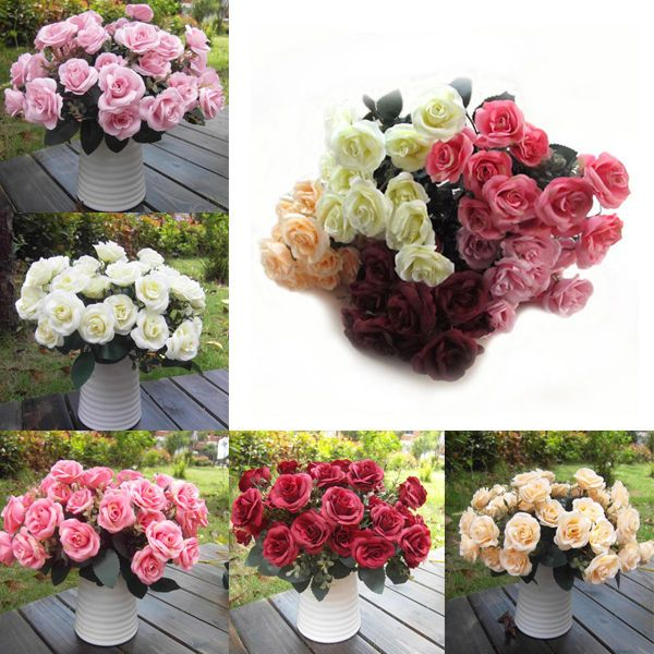 Artificial 12 Heads Rose Silk Flower For Home Party Wedding Bridal Bouquet Decor