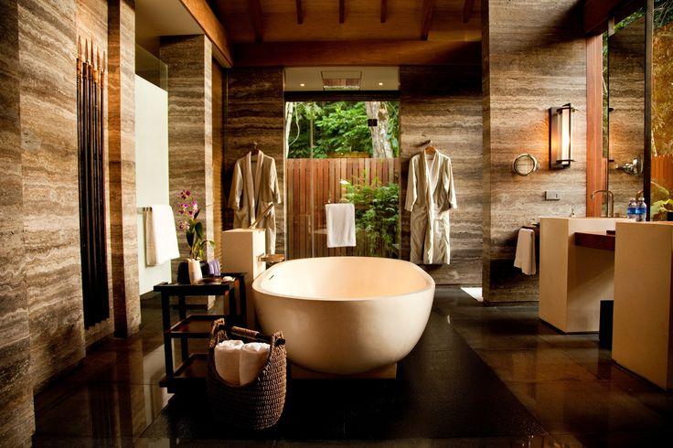 A beautiful big tub in the Beach Villa at The Datai #Langkawi #Travel #Bathrooms