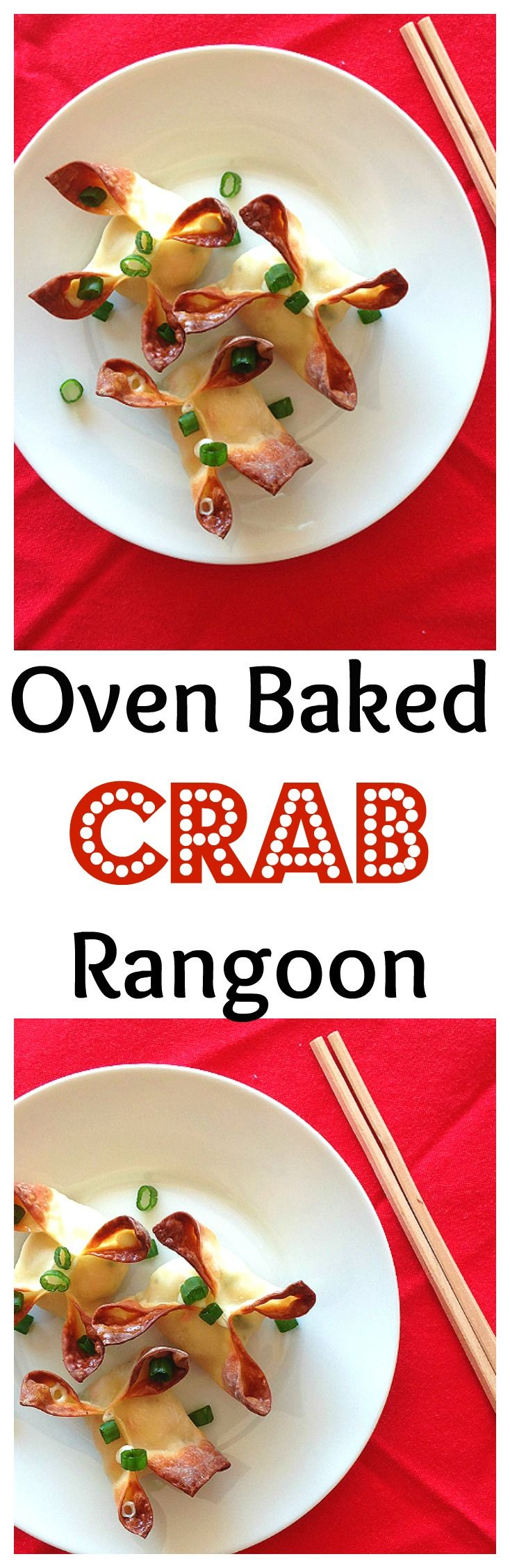 Oven baked crab Rangoon makes a great appetizer. Creamy on the inside and crunchy on the outside!