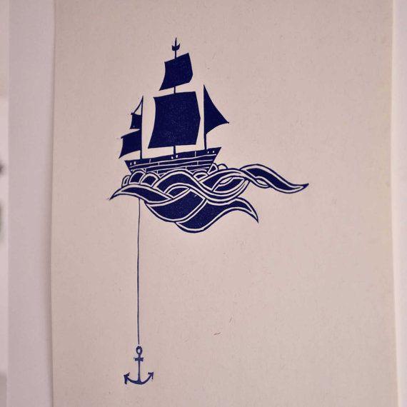 Anchored Ship Linocut Block Print  Navy Blue by sappling on Etsy, $8.99
