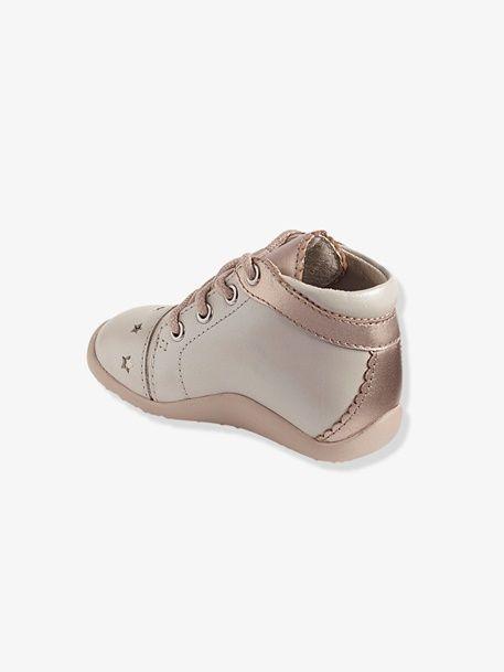 Botines de piel niña especial primeros pasos - BLANCO CLARO LISO CON MOTIVOS+ROSA  CLARO 873c0c5897d