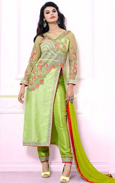Smashing Mint Green Churidar Kameez with Designer Dupatta