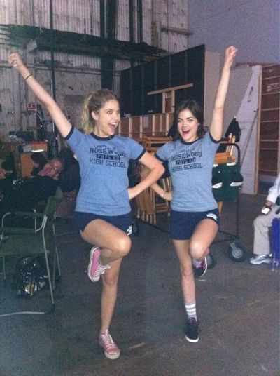 Ashley Benson (Hanna) and Lucy Hale (Aria) repping Rosewood on the set of Pretty Little Liars. #PLL