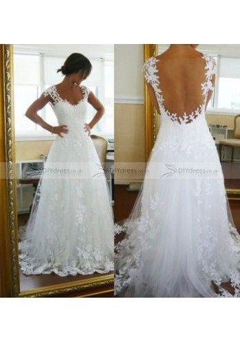 A-Line Cap Sleeve Scoop Appliqued Yarn Wedding Dresses
