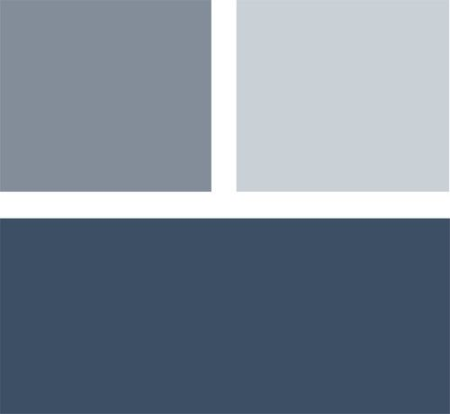 If you want to make a statement with color but don't want anything too loud, consider a palette of deep navy blue with lighter shades of gray-blue. The result will be calm and cool. Clockwise from top left (all from Benjamin Moore): Mineral Alloy 1622, Silver Mist 1619 and Hudson Bay 1680.
