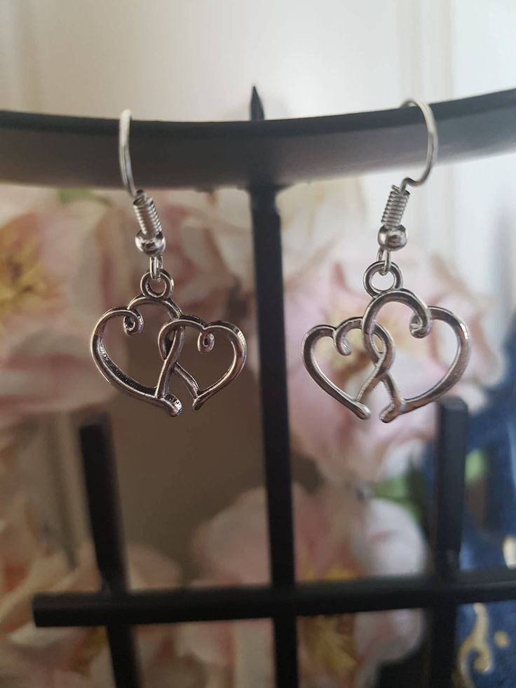 Double Heart Earrings by LykoCrafter on Etsy