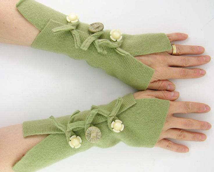 Fingerless mittens arm warmers fingerless gloves arm cuffs sage green eco…