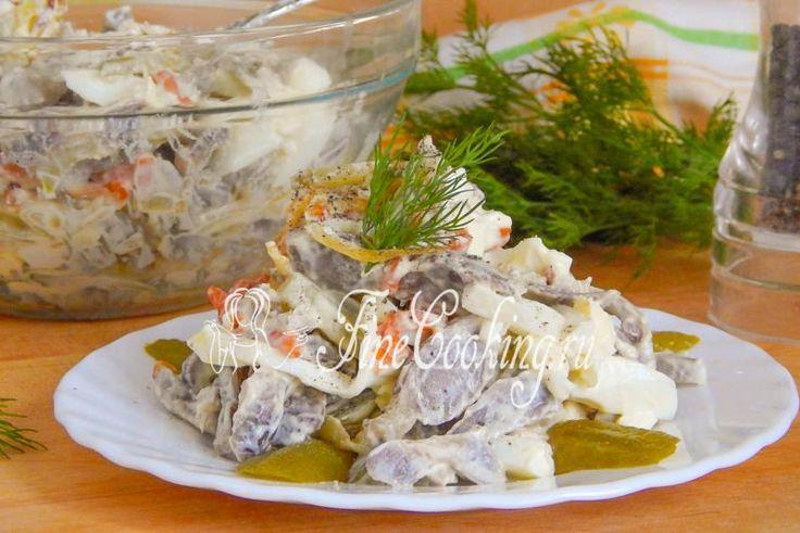Салат с куриными желудочками - рецепт с фото