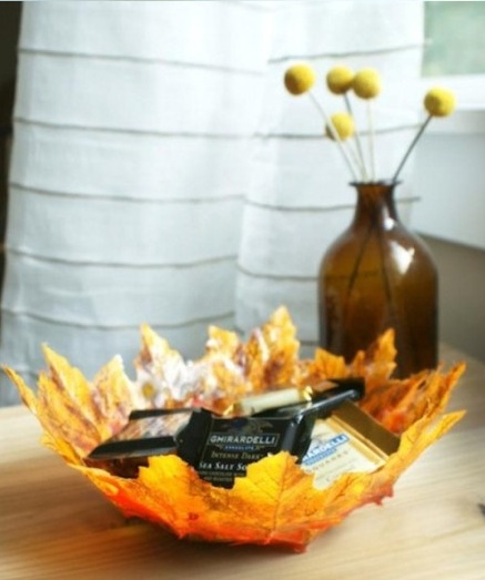 Bowl hecho de hojas,   Bowl made of leaves