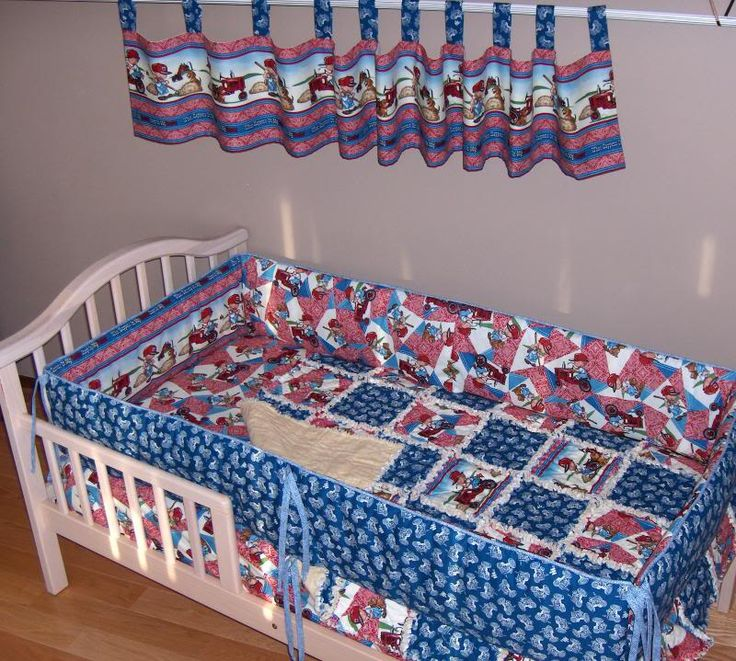 International Harvester Crib Bedding Set Rag Quilt Case