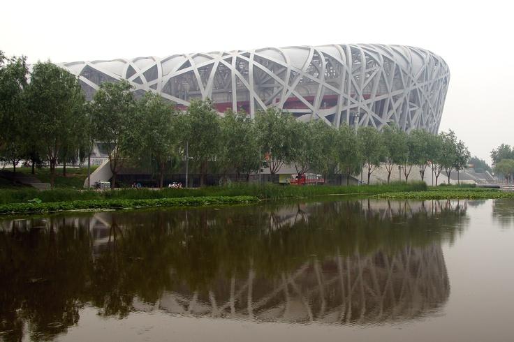 Het vogelnest, het Olympisch stadion voor de olympische spelen van 2008. Beijing, China
