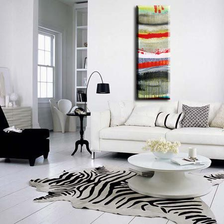 colorful abstract painting amidst white/black
