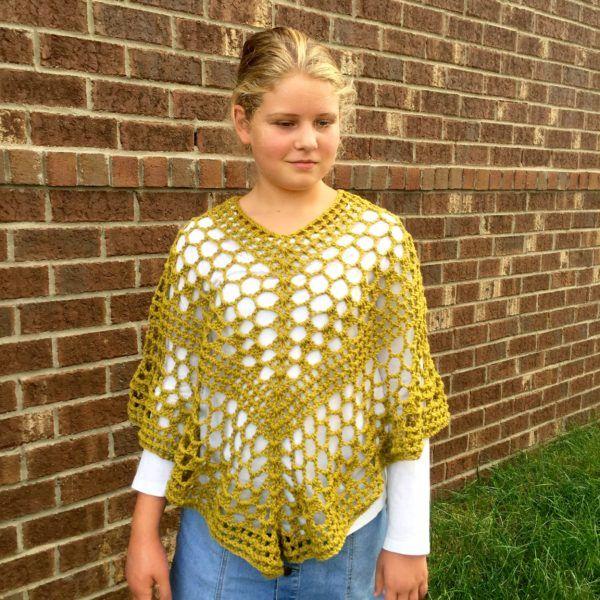 Beatrice poncho crochet pattern for girls. A perfect change of season poncho.
