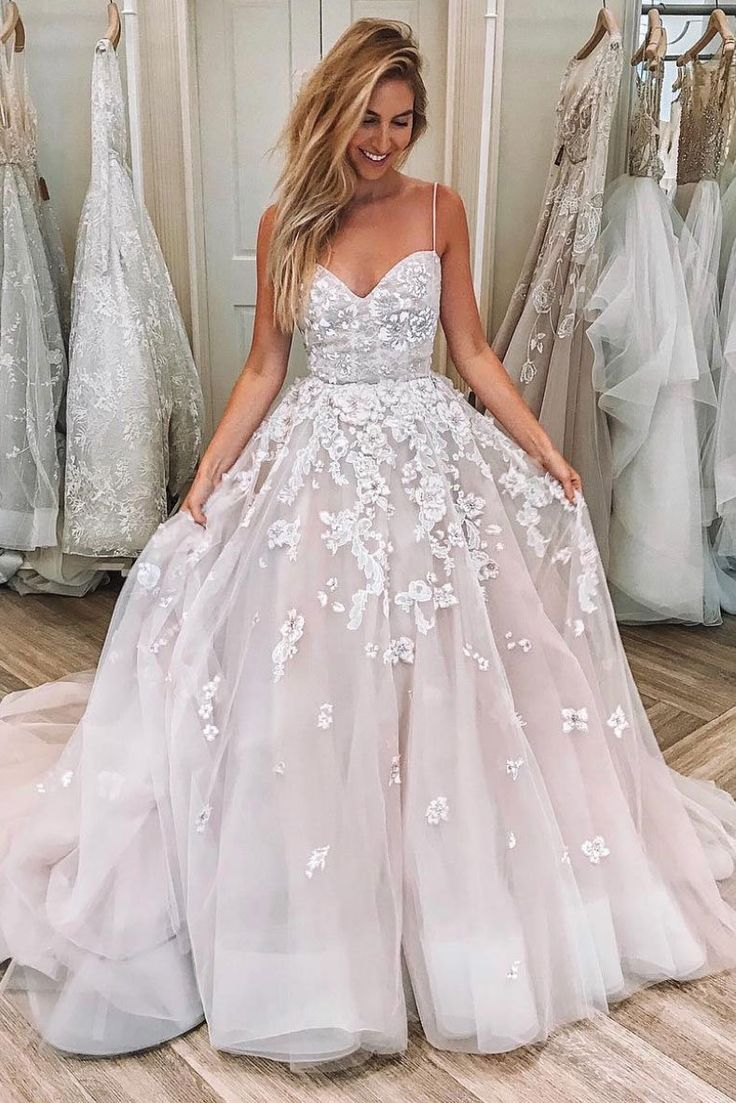 Blush Pink Tulle V Neck Lace Applique Long Prom Dress, Evening Dress from Girlsprom