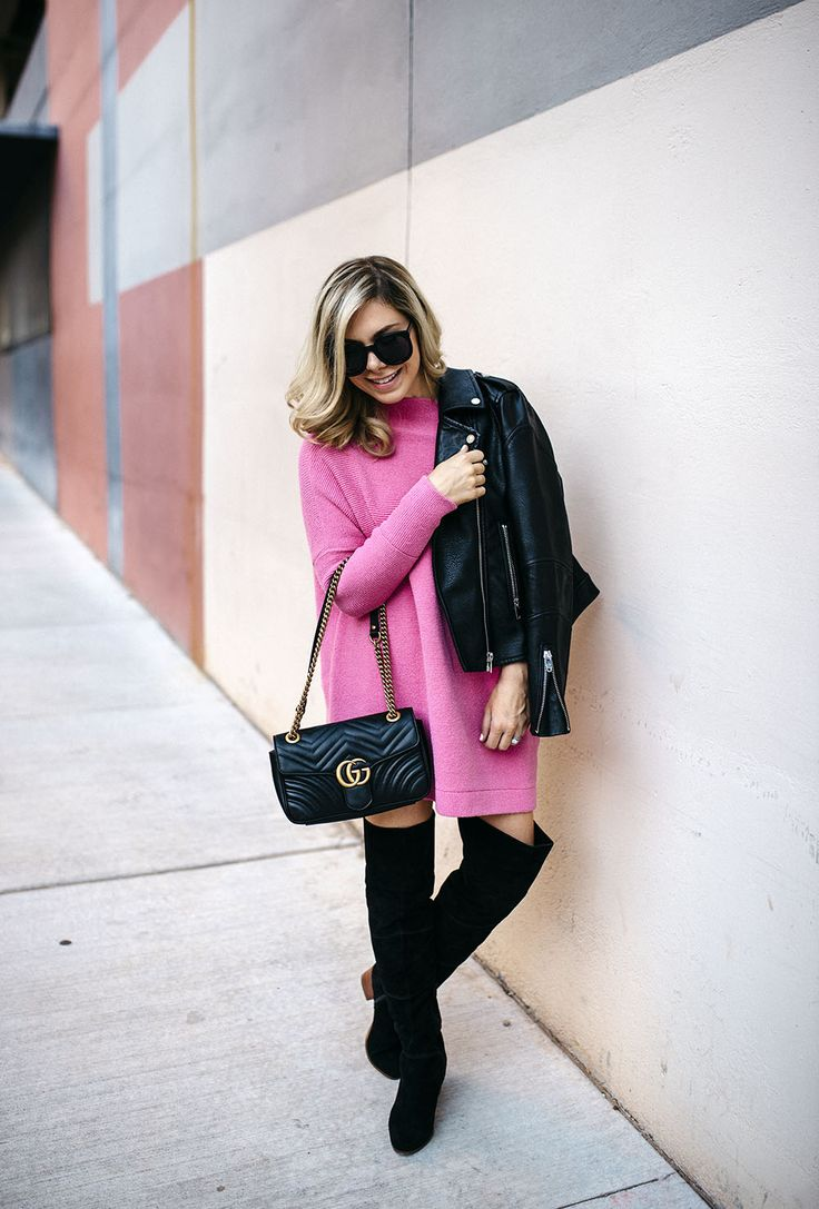 oversized slouchy pink sweater dress, with leather moto jacket