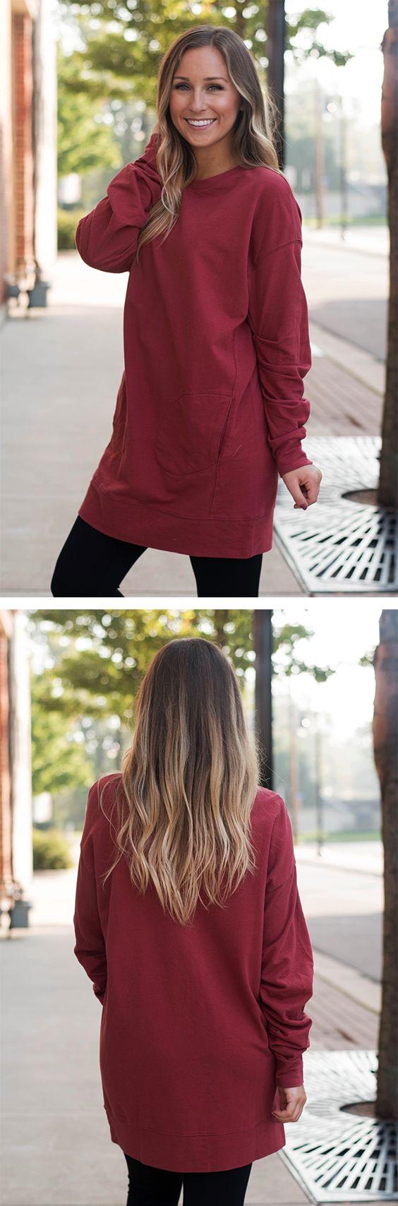 Red Pocket Sweatshirt Tunic | Lane 201 Boutique