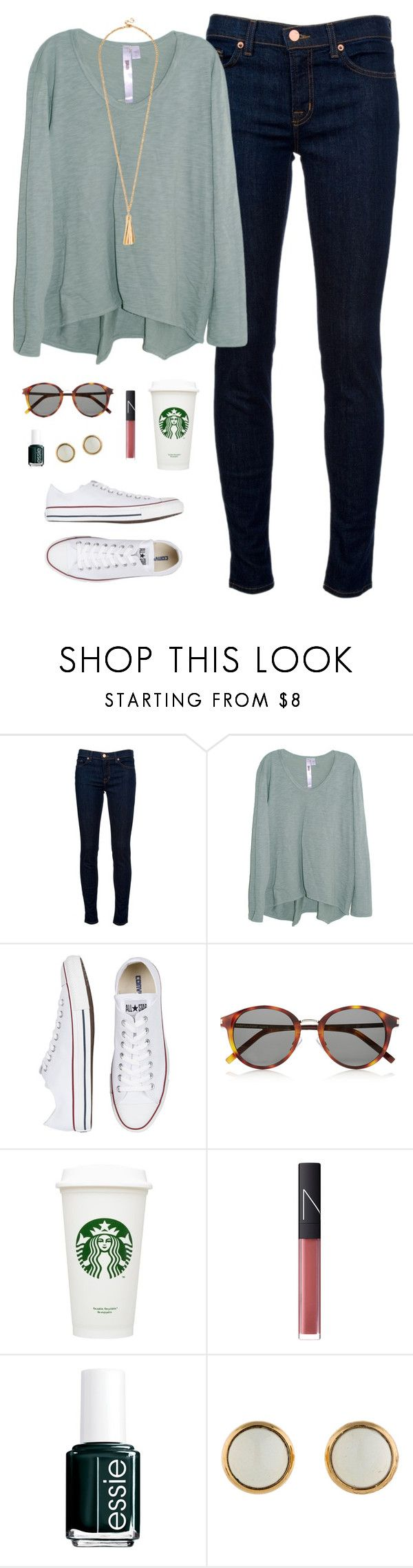 """sweater time of year"" by classically-preppy ❤ liked on Polyvore featuring J Brand, Wilt, Converse, Yves Saint Laurent, NARS Cosmetics, Essie and Hermès"
