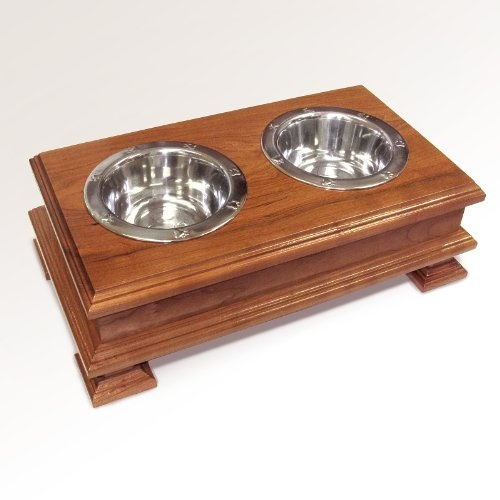 $149.99 Cherry Pet Feeder Crafted from Solid Cherry Wood - Elevated Dog Dish Stand Holder For Small Dogs - Top Rated - Best Quality Available - Best Pet Bowl Stand... - Carefully designed and built by craftsmen in the United States of America from solid American Cherry Hardwood, your new dog feeder is created using heirloom quality furniture crafting techniques. Multiple coats of clear finish pro ...