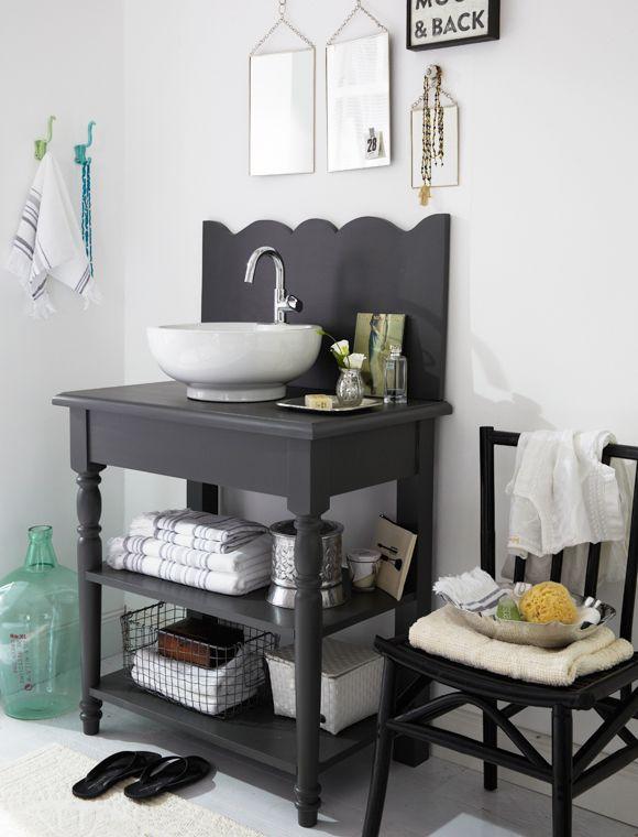 Waschtisch, 1 Becken Zum wohlfühlen! Der Waschtisch mit integriertem Spritzschutz hat jede Menge Charme. Geliefert wird er fertig montiert in anthrazit oder weiß, ohne Armatur (incl. Keramik Waschbecken).