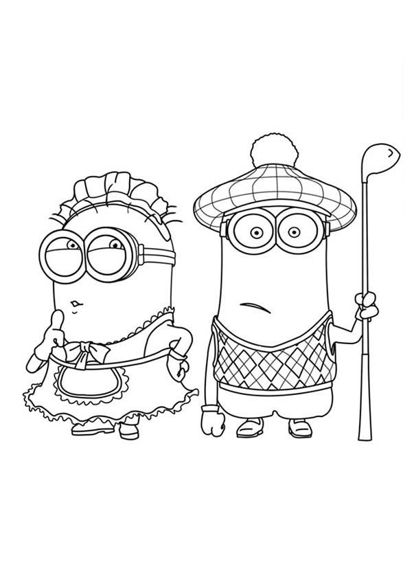 The Mark Maid And Golfer Phil Minion Coloring Page